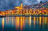 Provence village Menton after sunset — Stock Photo