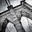 Brooklyn bridge detail view vintage black and white — Stock Photo