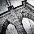 Stock Photo: Brooklyn bridge detail view vintage black and white