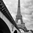 Stock Photo: Eiffel tower view from Seine river under bridge