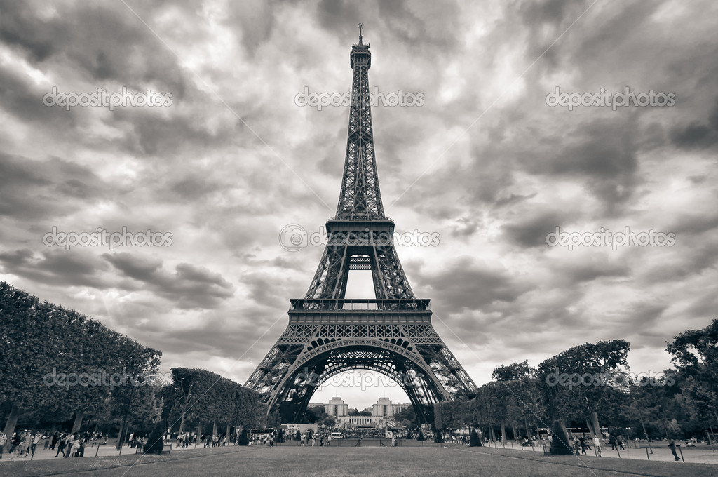 Eiffel Tower Images Black And White: Eiffel Tower With Dramatic Sky Monochrome Black And White