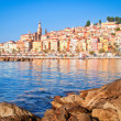Stock Photo: Provence village Menton oceview