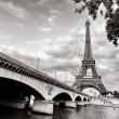 Eiffel tower view from Seine river - Stock Photo