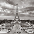 Stock Photo: Eiffel tower cloudy cityscape view