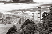 Golden Gate bridge black and white, San Francisco — Stock Photo