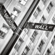 Stock Photo: Wall street and Broadway street sign black and white, New York