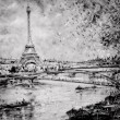 Stock Photo: Black and white illustration of Eiffel tower in Paris