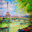 Colorful painting of Eiffel tower in Paris - Stock Photo