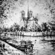 Stock Photo: Monochrome painting of Notre Dame in Paris