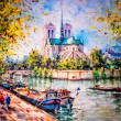 Colorful painting of Notre Dame in Paris — Stok Fotoğraf #8986476