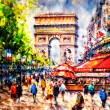Colorful painting of Arc d' Triomphe in Paris - Stock Photo