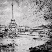 Black and white illustration of Eiffel tower in Paris — Stock Photo