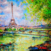 Colorful painting of Eiffel tower in Paris — Stok fotoğraf