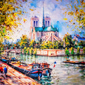 Colorful painting of Notre Dame in Paris — Stok fotoğraf