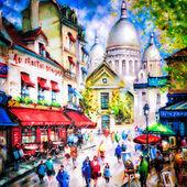 サクレ ・ クール寺院とパリのモンマルトルのカラフルな絵 — ストック写真