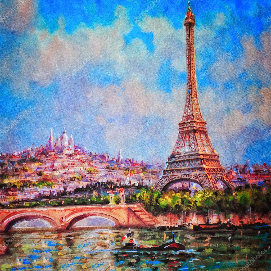 在巴黎埃菲尔铁塔和圣心大教堂的彩色绘画 - 图库图片