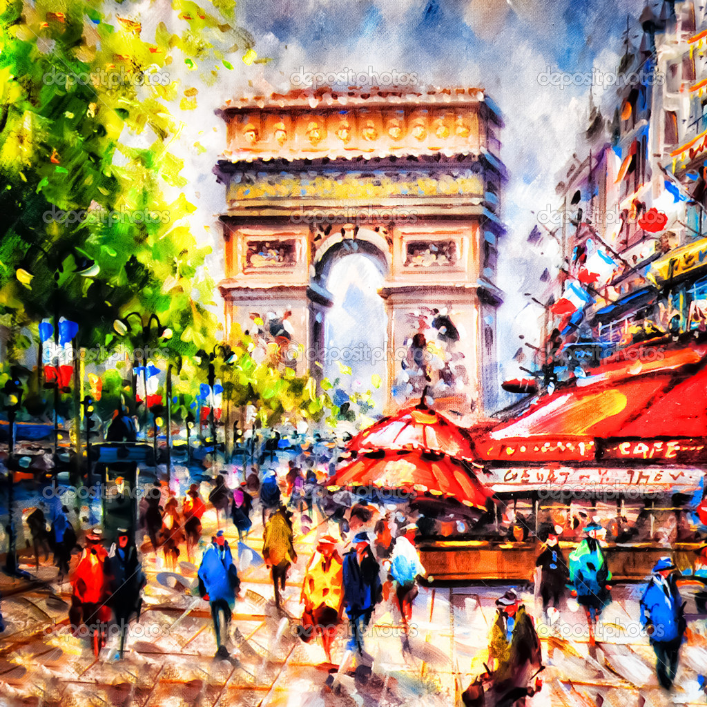 Colorful painting of Arc d' Triomphe in Paris — Stock Photo #8986482