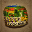 Foto Stock: Ceramic illustration of Tusclandscape