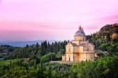 San Biagio cathedral at sunset, Montepulciano, Italy — Stock Photo
