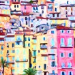 Stock Photo: Colorful houses in Provence - post processing painting by photographer