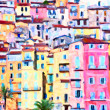 Colorful houses in Provence - post processing painting by photographer - Stock Photo