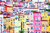 Colorful houses in Provence - post processing painting by photographer — Stock Photo