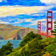 Golden Gate Bridge in San Francisco - painting art — Stock Photo