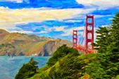 Golden gate-bron i san francisco - oljemålning art — Stockfoto