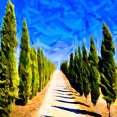 Empty Tuscan cypress road, painting art — Stock Photo