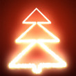 Abstract Christmas tree on the red background - Stock Photo