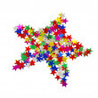Big star composed of many colored stars on white - Foto Stock