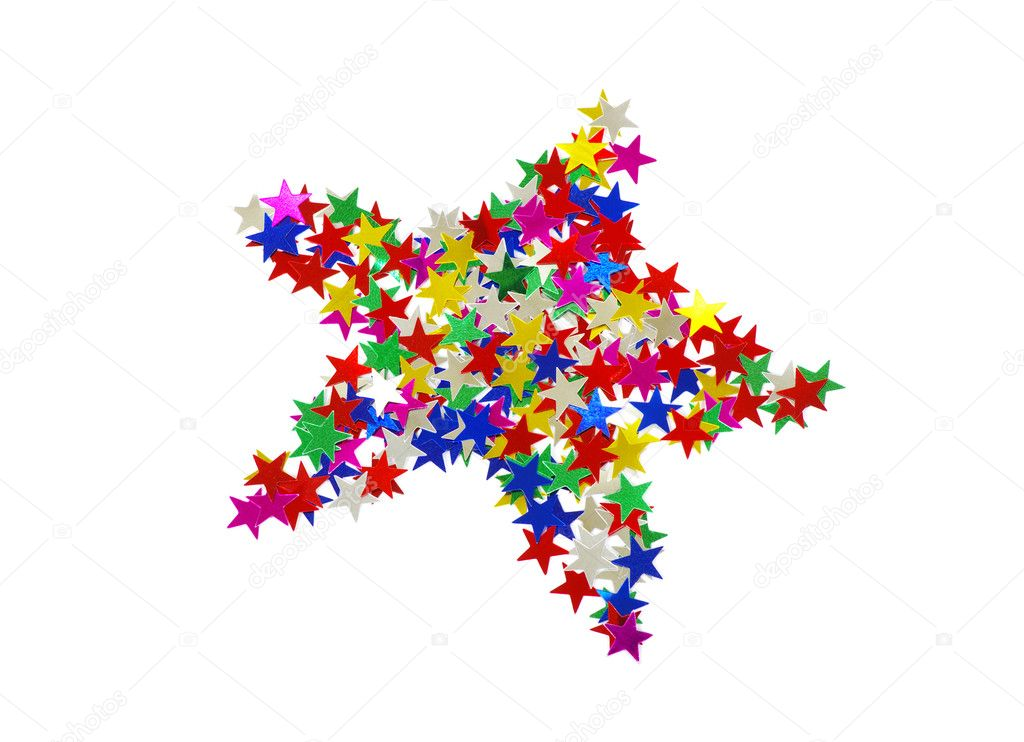 Big star composed of many colored stars on white — Stock Photo #8028028