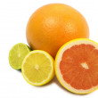 Royalty-Free Stock Photo: Image of a fresh whole lime,lemon and orange isolated on white