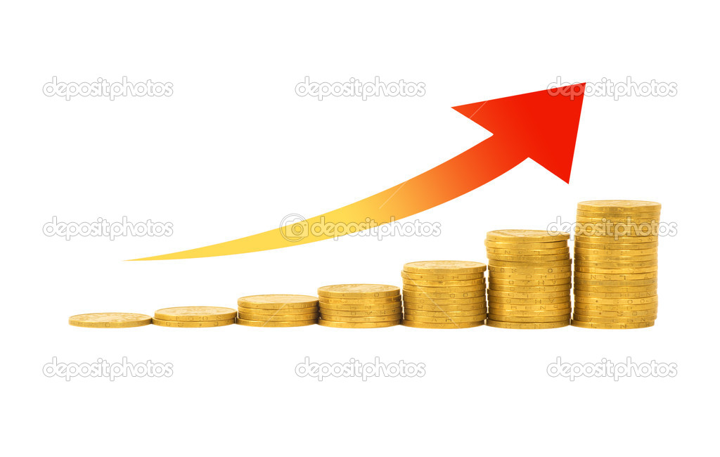 Financial success concept- graph of the columns of coins isolated on white background  Stock Photo #8808489