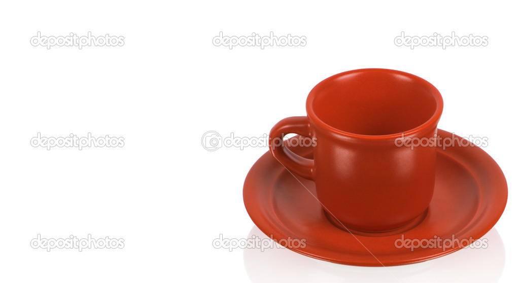 Red cup on a red saucer isolated on white background  Stock Photo #8941935