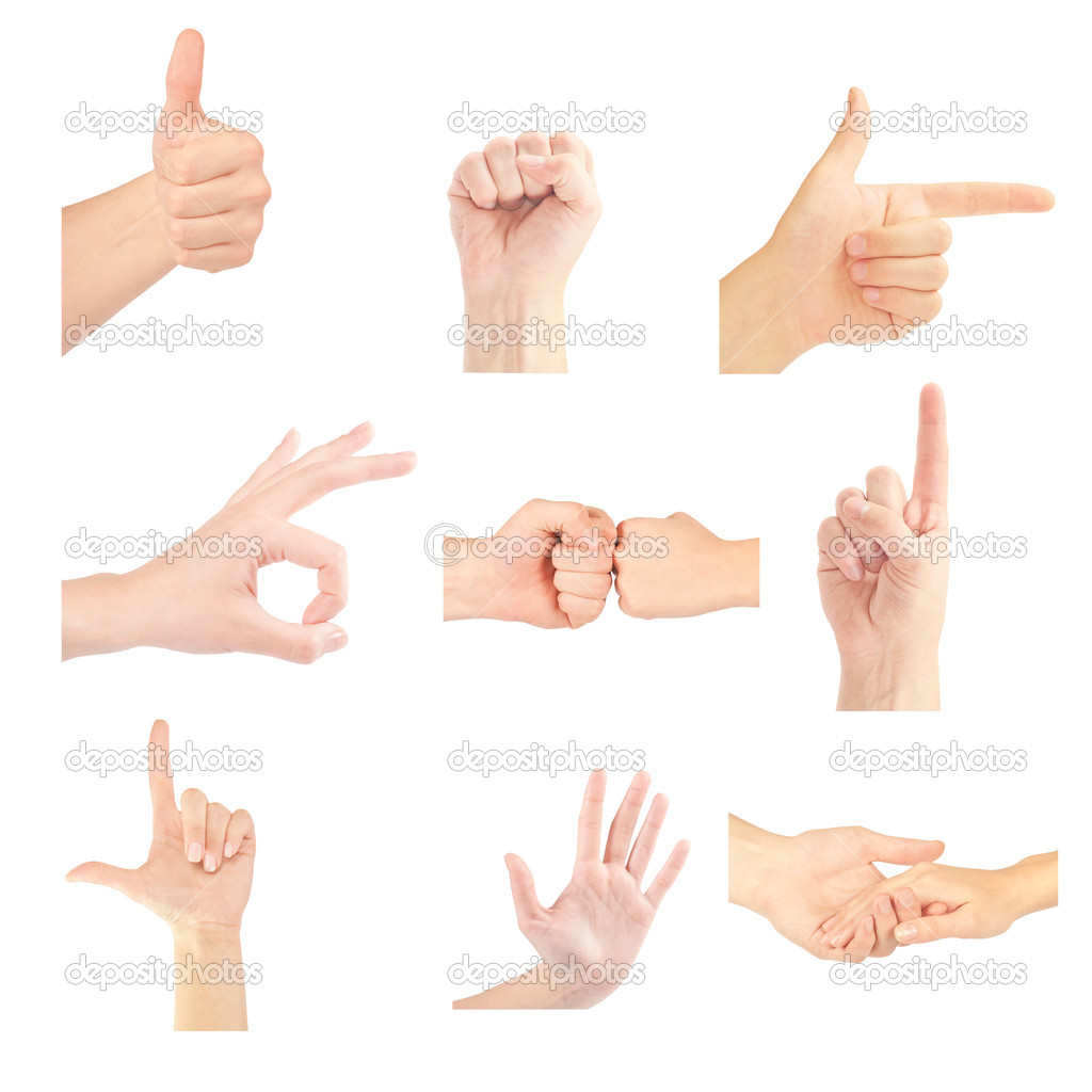 Set of gesturing hands isolated on white background — Stock Photo #8944353