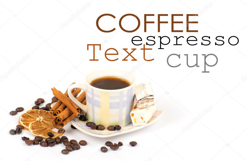 Cup of coffee with ingredients on a white background  Stock Photo #9079714