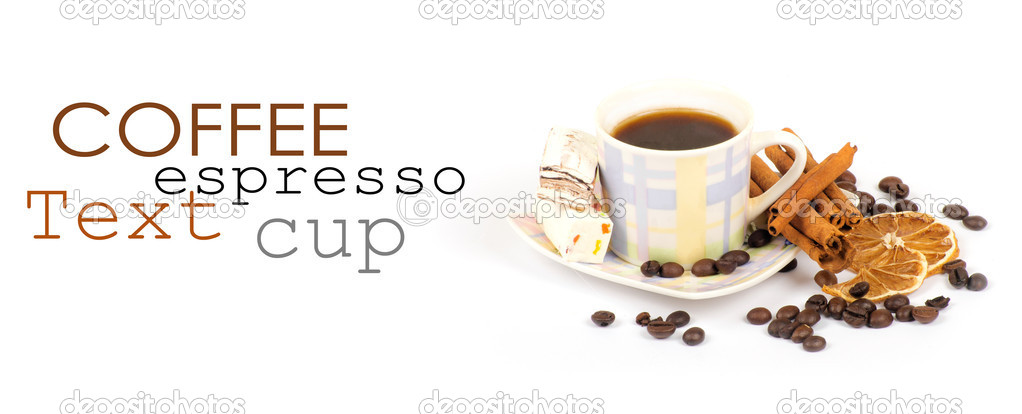 Cup of coffee with ingredients on a white background — Stock Photo #9079725