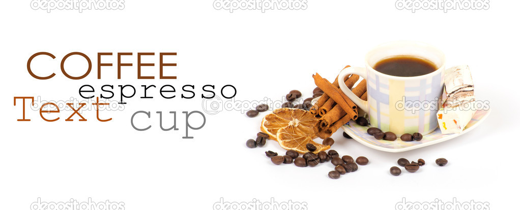 Cup of coffee with ingredients on a white background  Foto de Stock   #9079730