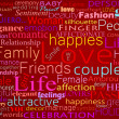 Seamless pattern made from words which relate with word love - Foto Stock