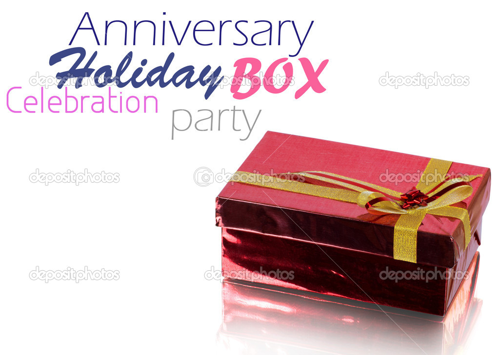 Red Gift Box on white background — Stok fotoğraf #9459087