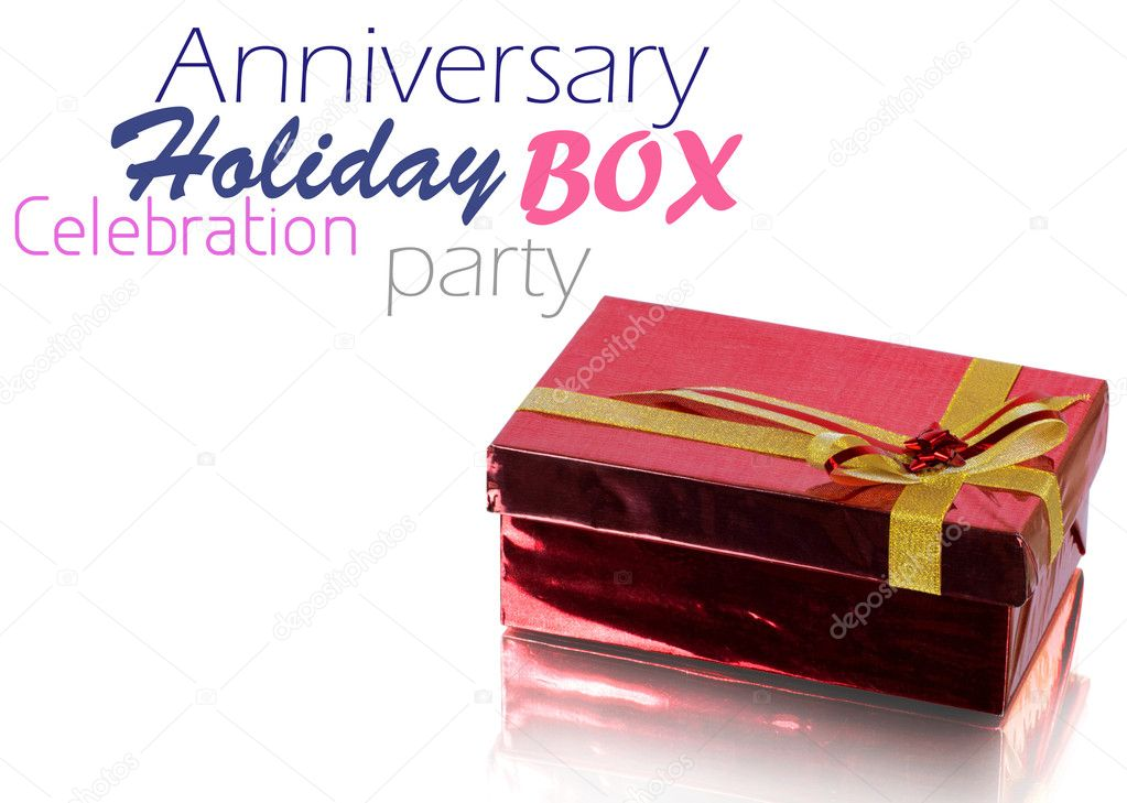 Red Gift Box on white background — Photo #9459087