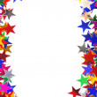 Star shaped confetti of different colors frame - Foto Stock