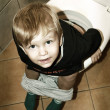 Little boy on the toilet — Stock Photo