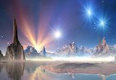 Alien Planet Between Stars — Stock Photo