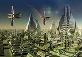 Fiktiv stad skyline — Stockfoto