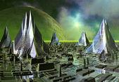 Skyline van de fictieve stad — Stockfoto