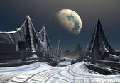 Modern stad på en främmande planet — Stockfoto