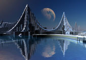 Modern City on an Alien Planet — Stock Photo