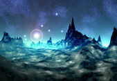 Alien Planet Between Stars — Stock Photo